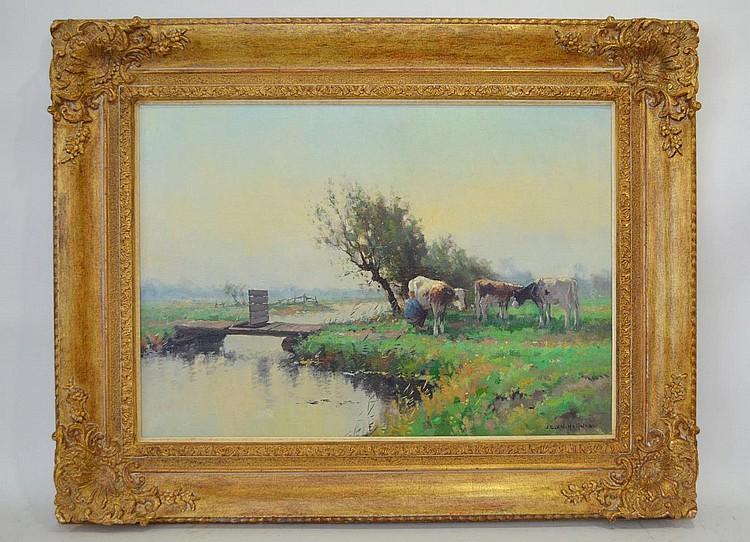 Jan C. Van der Heyden (Dutch, 1911-1988) oil on canvas, MILKING TIME, 20 x 28
