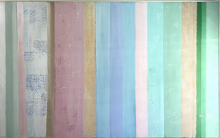 David Stein Stripes, dated '80. Large oil on canvas, 10 x 4.5 feet