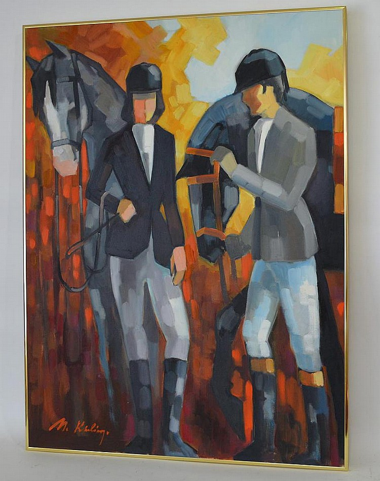 Modern Decorative horse & riders, oil n canvas, 40 x 30 inches, illegibly signed
