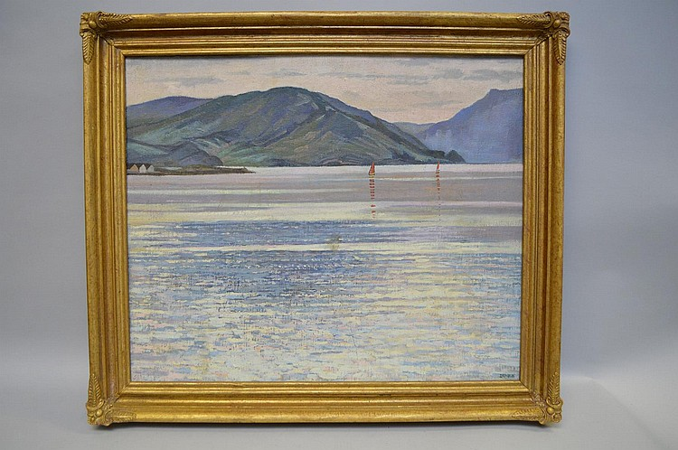 19th Century English mountain lake scene, oil on board, signed Innes, 20 x 24 inches