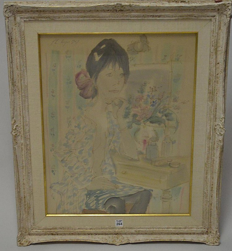Philippe Henri Noyer (FRENCH, 1917–1985) Watercolor, girl at her vanity, dated 1967, 25 x 19 sight
