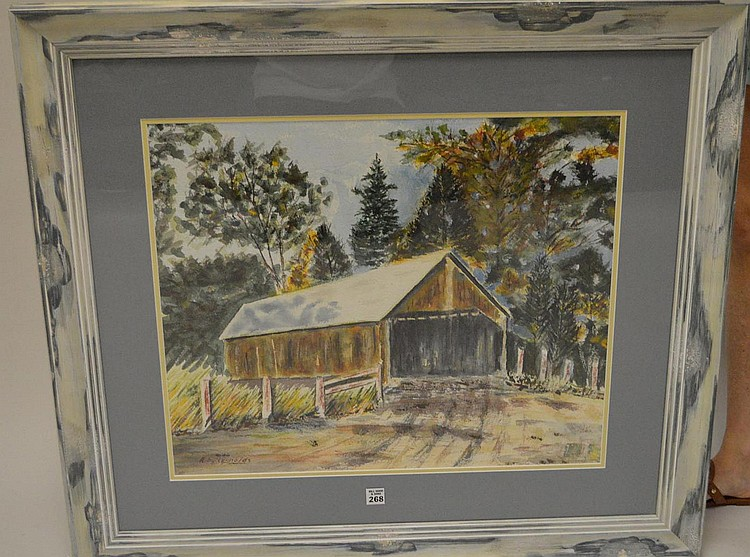 American New England painting by Andrew E Reynolds, Watercolor of covered bridge, approx. 20 x 24 inches