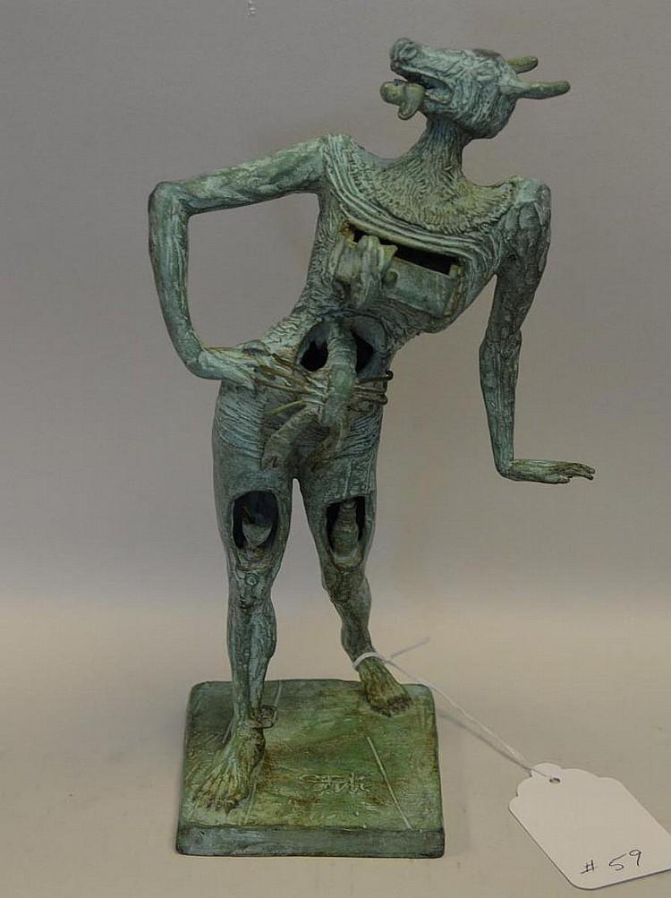 Salvador Dali Patinated Bronze Sculpture, le minotaure, 11 inches tall