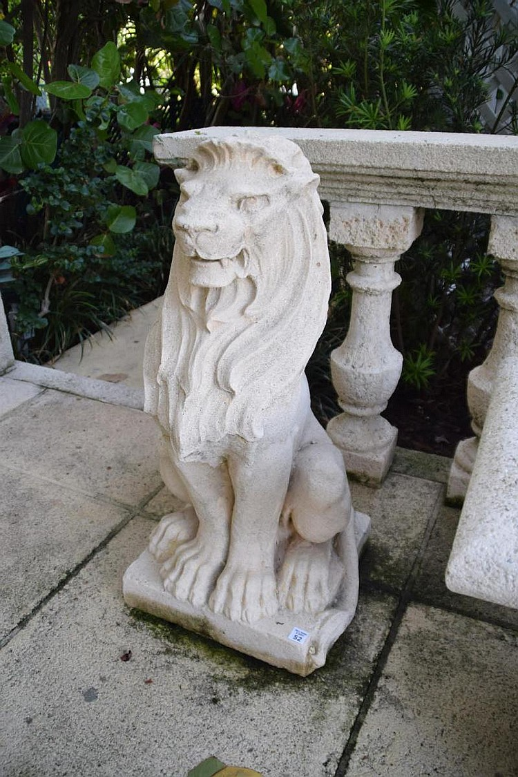 """Cast Stone Lion Figure Condition: Good, with minor normal wear. Dimensions: 32"""" H"""