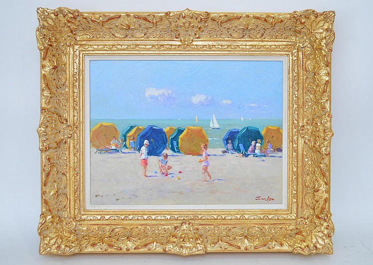 Niek van der Plas (Dutch, b. 1954) NANTUCKET BEACH, oil on wood panel, signed lower right and signed en verso. 12 X 15-1/2 inches Framed.