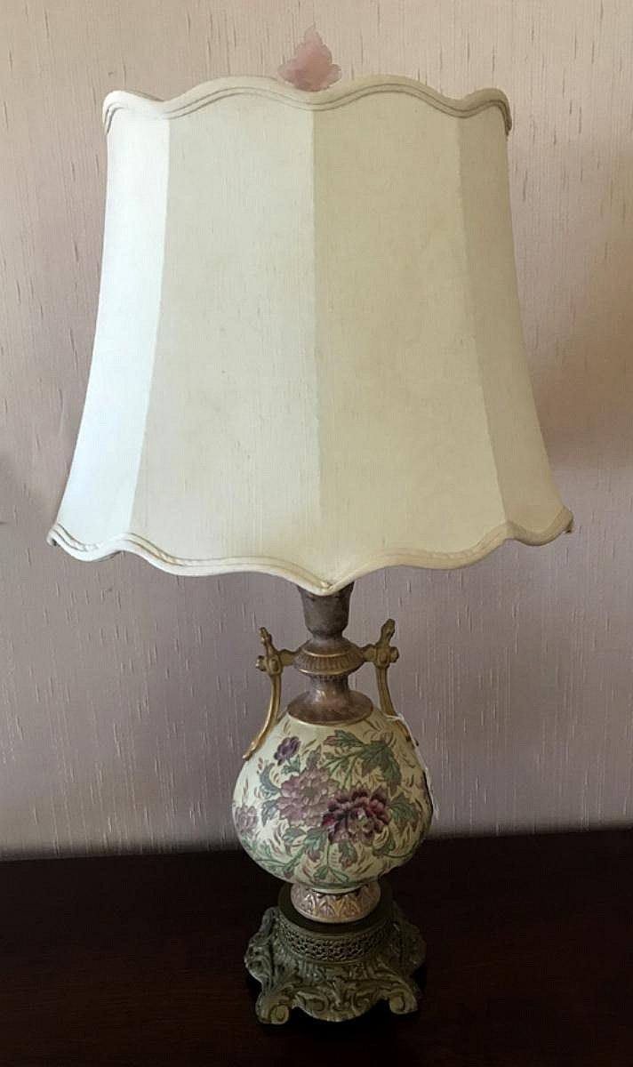 """Austrian Porcelain Vase Floral Motif Lamp, now electrified and mounted as a lamp. Condition: Good and working. Dimensions: 21"""" to the socket, 32"""" Overall."""