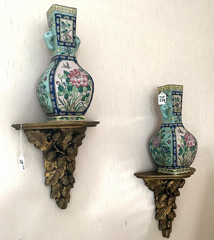 """Collection of Four Decorative Articles Two Chinese Porcelain Vases in good condition 12"""" H and two carved gilt wood brackets in good condition 10"""" H x 10"""" W x 5"""" D."""