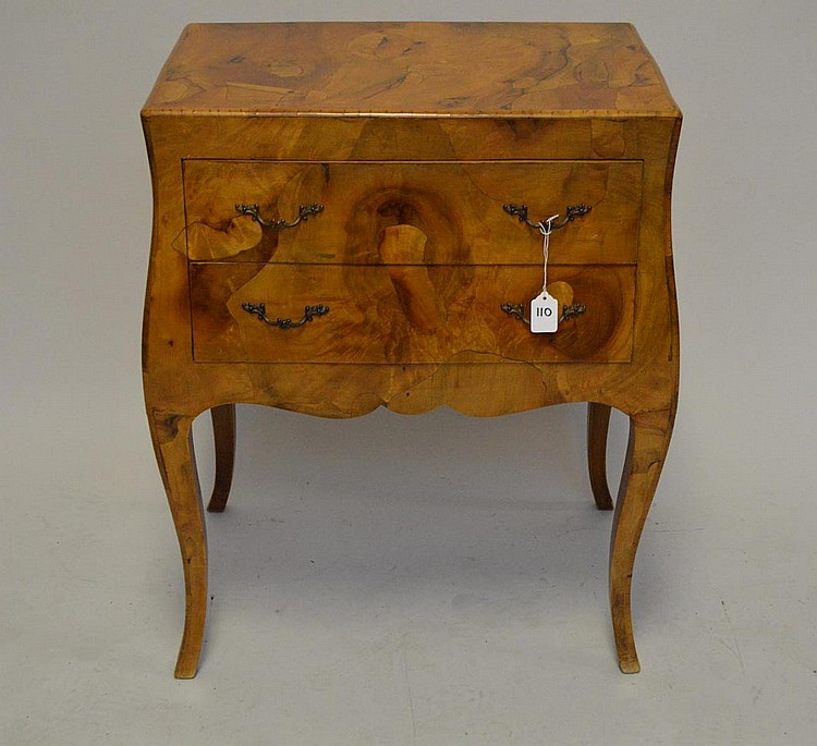 Italian Burlwood Two Drawer Chest. Condition: good with minor normal wear. Ht. 28 1/2