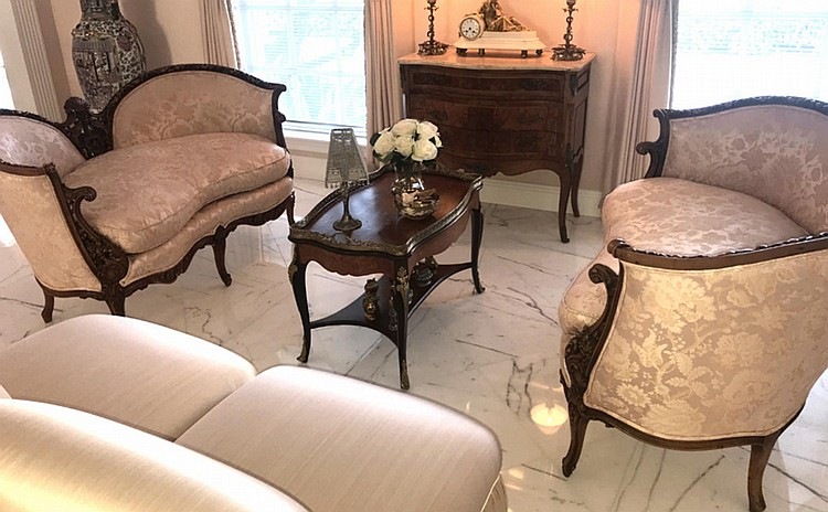 """Pair of 19th Century Carved & Upholstered Kidney-Shaped Settees with down cushion. Condition: Good, with no noticeable damage. Dimensions: 33"""" H x 51"""" W x 29"""" D. seat height - approx. 20""""."""