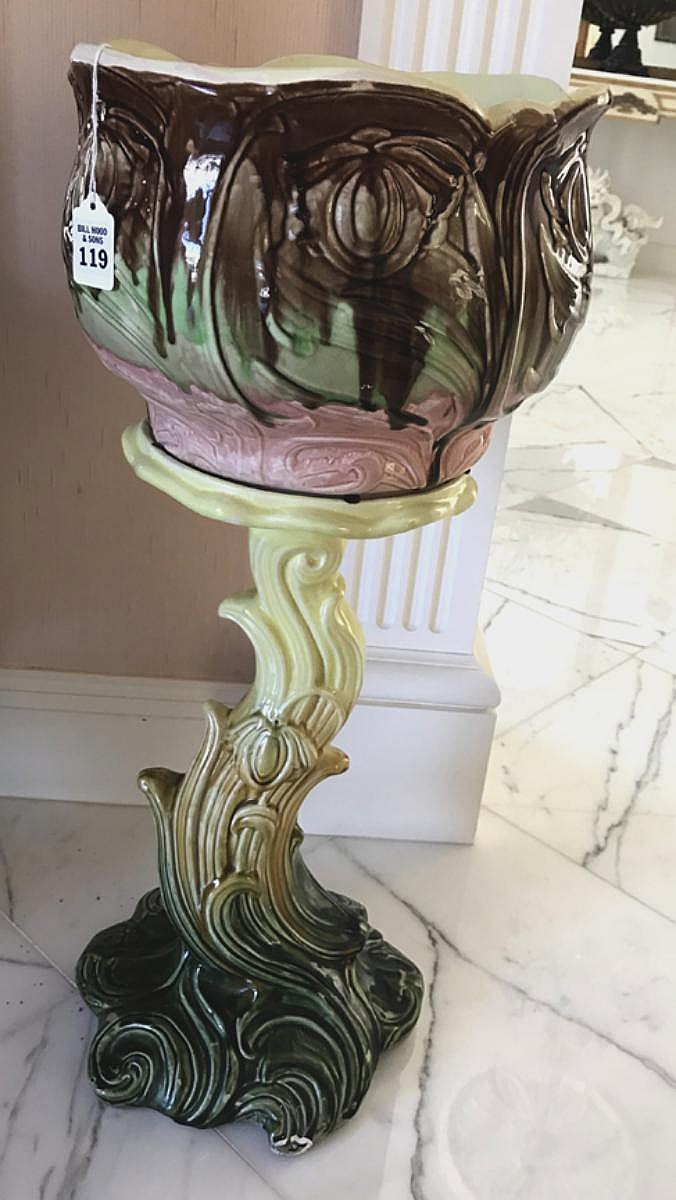 French Majolica Jardinière Circa 1900 - Interesting coloration and matching cache pot & stand. Condition: Good for its age, with only slight glaze losses, one small age crack. There is some roughage on the pedestal where the bowl sits, but this