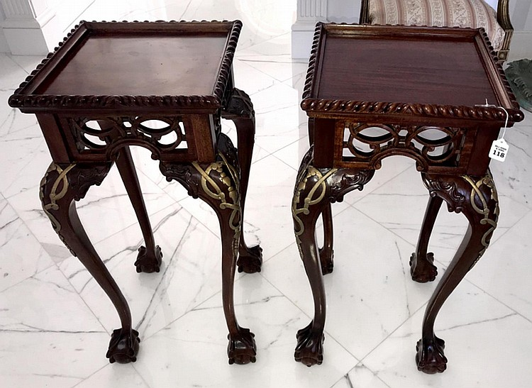 """Pair of Chippendale Style Carved Mahogany & Gilt Wood Pedestals - Condition: Good, with only minor normal wear. Dimensions: 32"""" H x 16"""" W x 16"""" D."""