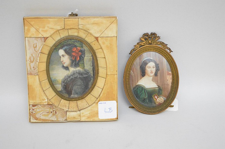 Two Antique Hand-Painted Portraits of Dark-Haired Beauties - one in oval metal frame with ribbon detail 4 3/4
