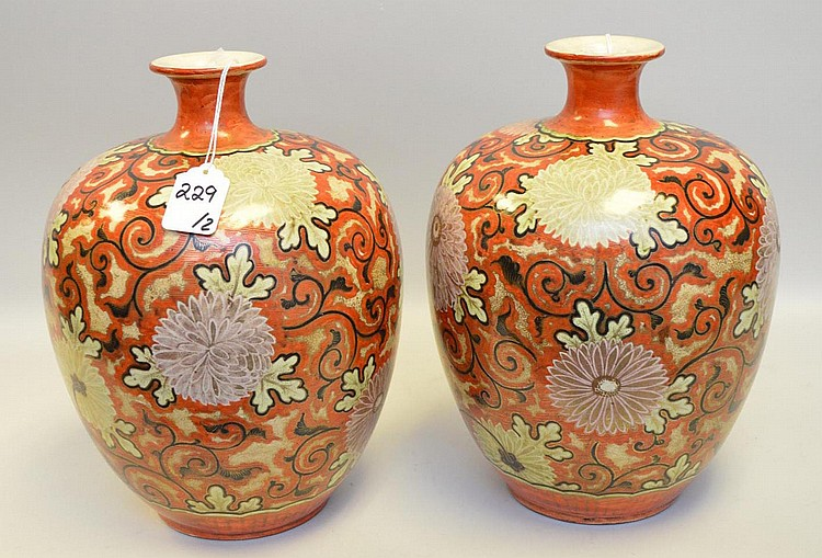 Pair of Japanese Satsuma Chrysanthemum Vases - Ornate floral and foliate designs all over body of jar in both enamel, paint & gilt. Condition: Good, with no cracks, chips or repairs. Normal and expected cracklature to glaze. Some loss to gilt painted
