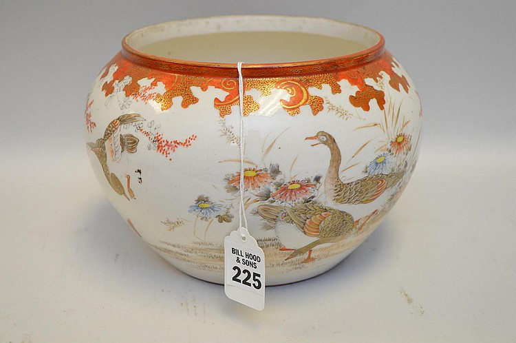 Japanese Satsuma Round Porcelain Planter Bowl, featuring geese and floral designs. Decorated exterior, interior is undecorated. Condition: Good, with no cracks or repairs to body of vessel. Some bottom wear with a few small chips, though these cannot