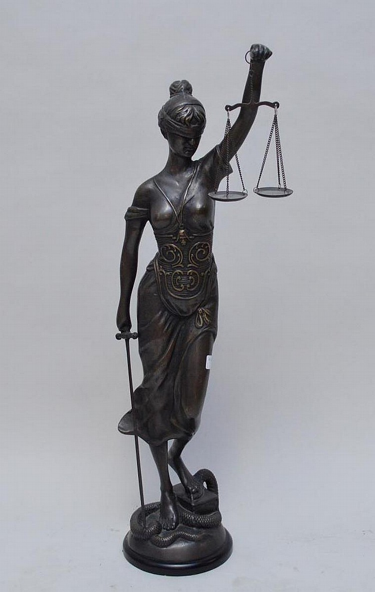 Bronze Sculpture SCALES OF JUSTICE, 39 inches tall
