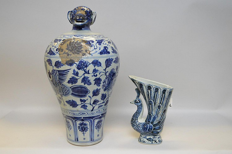 Two Chinese Blue & White Porcelain Vessels - Peacock shaped vase 9 3/4