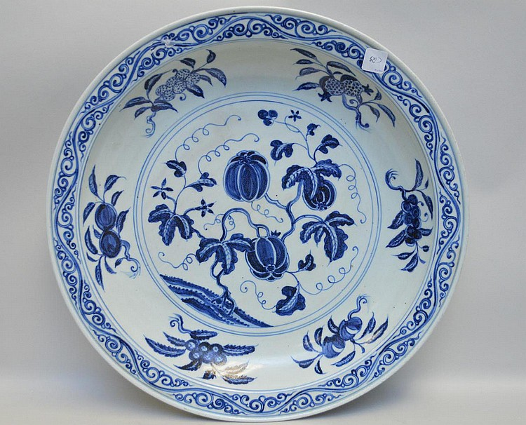 Large Chinese Blue & White Porcelain Charger - Features gourds, peaches, and foliate designs in blue under glaze on a white ground. Condition: Good, with no cracks, chips, or repairs. Some bottom wear. Dimensions: 20 1/8