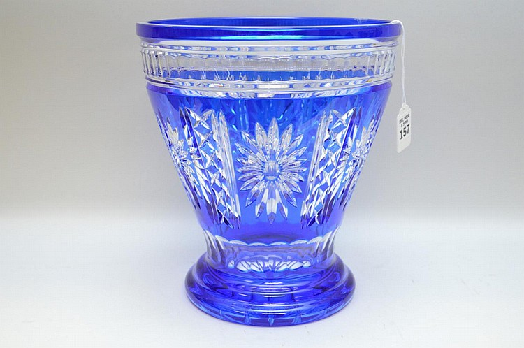 Cobalt Blue Cut-to-Clear Glass Vase - Condition: Good, with no noticeable damage. Some minor bottom wear scratches. Dimensions: 10 1/2