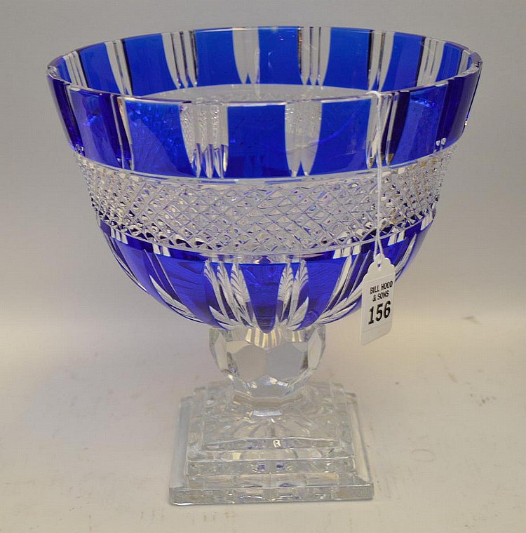 Cobalt Blue Cut-to-Clear Glass Center Bowl - Bowl sits atop a clear pedestal base. Condition: Good, with no noticeable damage. Dimensions: 9 7/8