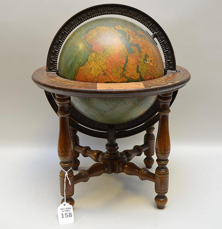 Antique Table Top Terrestrial Globe Kittinger Co 1893 - Globe is paper covered and sits on a wooden stand with metal numerical degree disk encircling the globe. Condition: Some losses to paper on calendrical information featured on the top of wooden