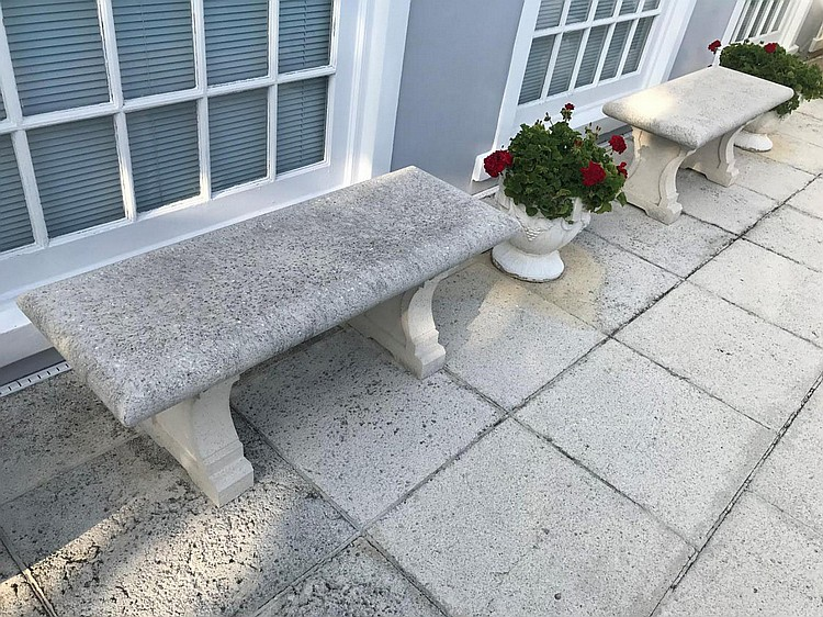 """Pair of Cast Stone Benches - Condition: Minor normal wear. Dimensions: 20"""" H x 48"""" W x 18"""" D."""