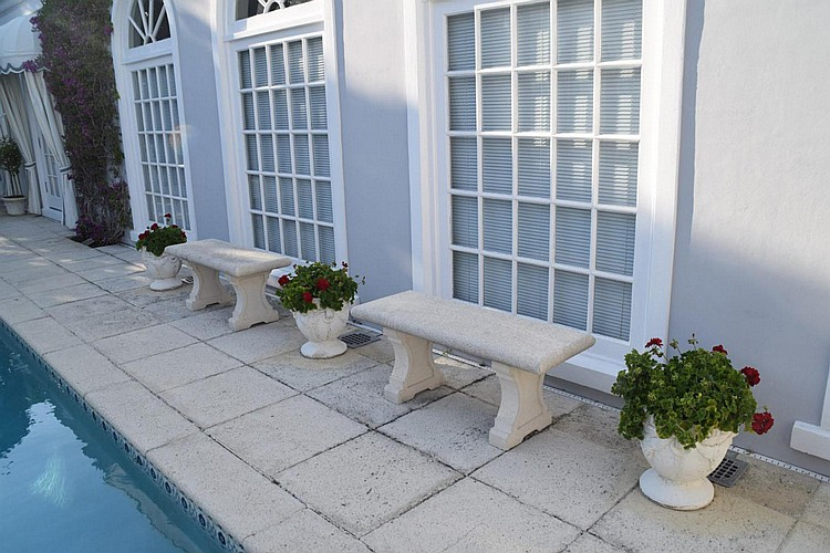 "Pair of Cast Stone Benches Condition: Minor normal wear. Dimensions: 20"" H x 48"" W x 18"" D."