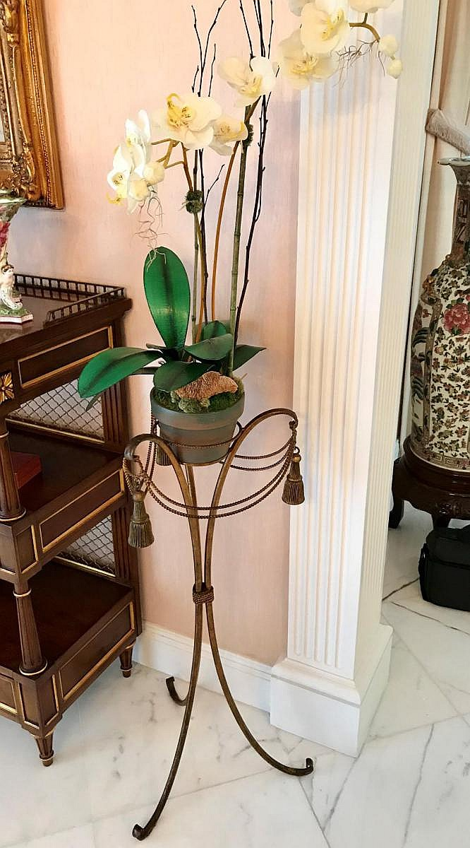 "French Gilt Metal Tassel-Form Plant Stand with Silk Orchid. Condition: Good, with no noticeable damage. Dimensions: Stand only- 35"" H. Overall, including silk orchid, 74"" H"