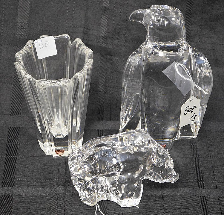 Three Orrefors Sweden Crystal - Paperweights & Vase, Includes: a bear 3 3/4