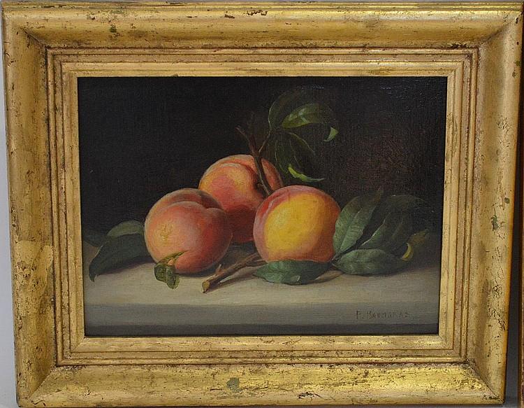 Peter Baumgras (Am. 1827-1904) oil on board, Still Life, signed P.Baumgras lr, 9 x 12 in. 22.9 x 30.5 cm