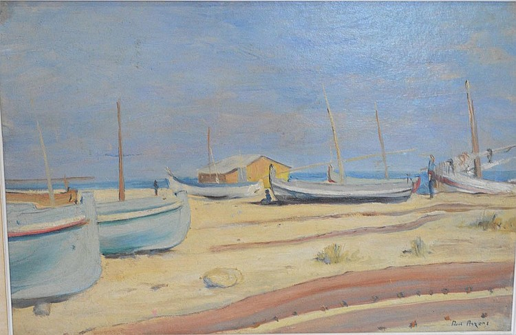 Paul Arzens, oil on board, sailboats on the beach, 14-1/2 x 21-1/2 inches