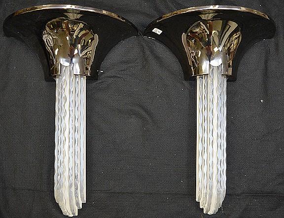 Acrylic and gunmetal finish modern Possibly Karl Springer sconces, 24