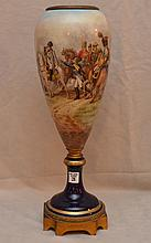 European porcelain figural open urn, depicting French battle scene, signed Guillon, 19 1/2