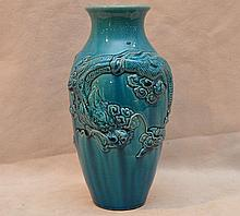 Turquoise Chinese vase, glazed with dragon motif, 10
