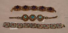 Lot of 3 vintage bracelets with intricate settings, amethyst color, turquoise color stone and micro mosaic