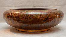 Large open cloisonné centerpiece, browns, red and black floral motif, inside and outside, 6