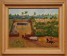 Lillian Pelham Bantz, Folklore Primitive American School. Pair of Early Fort-Lauderdale Paintings Depicting a Merging Seminole Native American Indian Society. Both are Oils on Canvas Board, 16