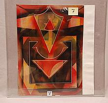 Alexander Sandor Bortnyik (Hungarian 1893-1976) constructivism-abstract painting, gouache, signed