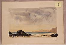 János Vaszary (Hungarian 1867-1938) beach scene, gouache/watercolor, signed, image size 9 ¾ x 15 ½