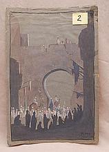 Pavel Kuznetsov (Russian 1878-1968) Orientalist scene, watercolor/gouache on paper , signed in Cyrillic, size 18 ½ x 12 ½