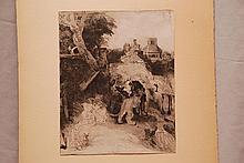 Rembrandt Van Rijn, attrib. (Dutch 1606-1669) St. Jerome, etching, image size    10 ⅛ x 8 ⅛