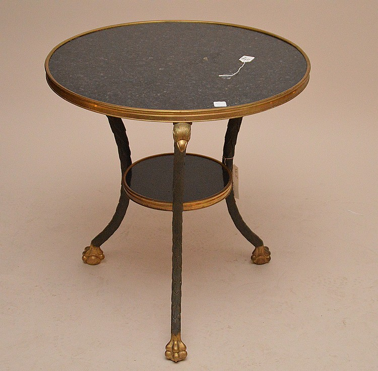 Bronze & Marble Gueridon Table with eagle supports ending in ball and caw feet. 26