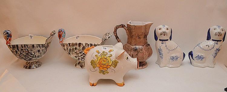 Pair of Italian ceramic turkey motif bowls (7 1/2