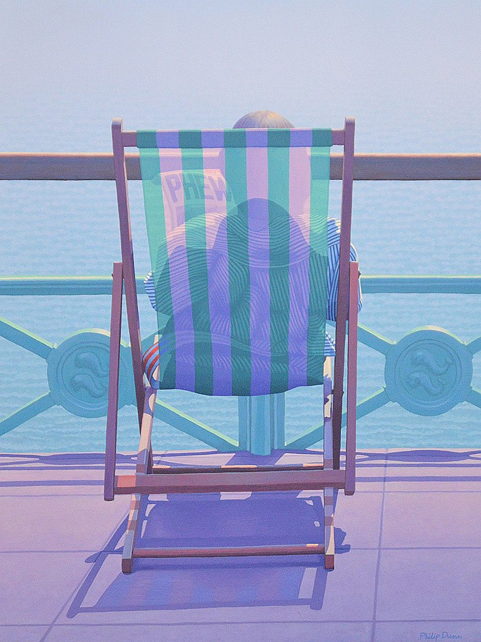 Philip Dunn (BRITISH, 20th Century) oil on canvas, Beach Chair, 48inches x 36inches
