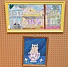 2 Folk Art Paintings: Jack Baron  (American 1926 - 2005) oil on canvas, Key West 1988, 12in. x 24in.  &  Cat Painting- oil on board by R. Hardee, 14in. x 11in.