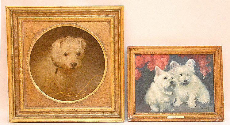 2 Dog Paintings sold together: 2 white dogs signed Longnecker, oil on board, 9in. X 12in.  & single dog painting initialed JFW, oil on board, 11-1/2inche diameter-sight