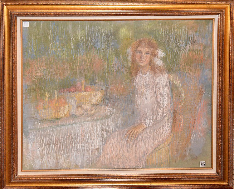 Large Pastel signed Pisano. seated woman, 30 inches x 36 inches
