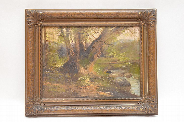 American school oil on artist board, landscape in deco frame, 9in. x 12in.