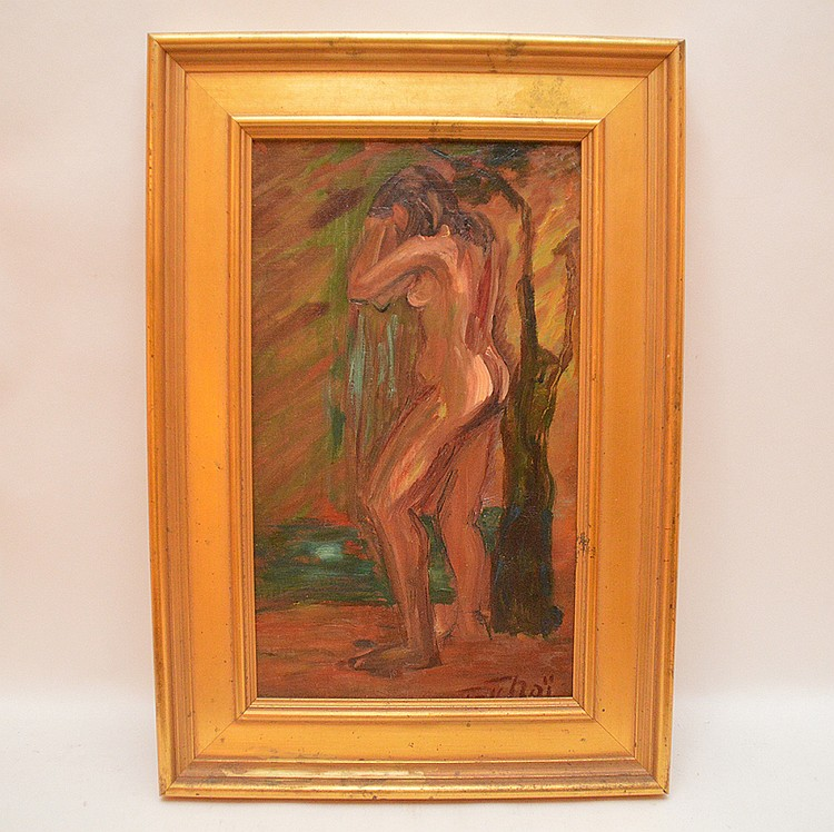 Standing Nude oil on canvas painting, 18-1/4in. x 10-1/2in.