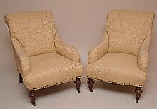Pair ivory upholstered custom arm chairs