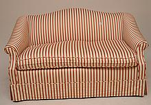 Camel back settee with stripe upholstery, single bottom cushion, 56